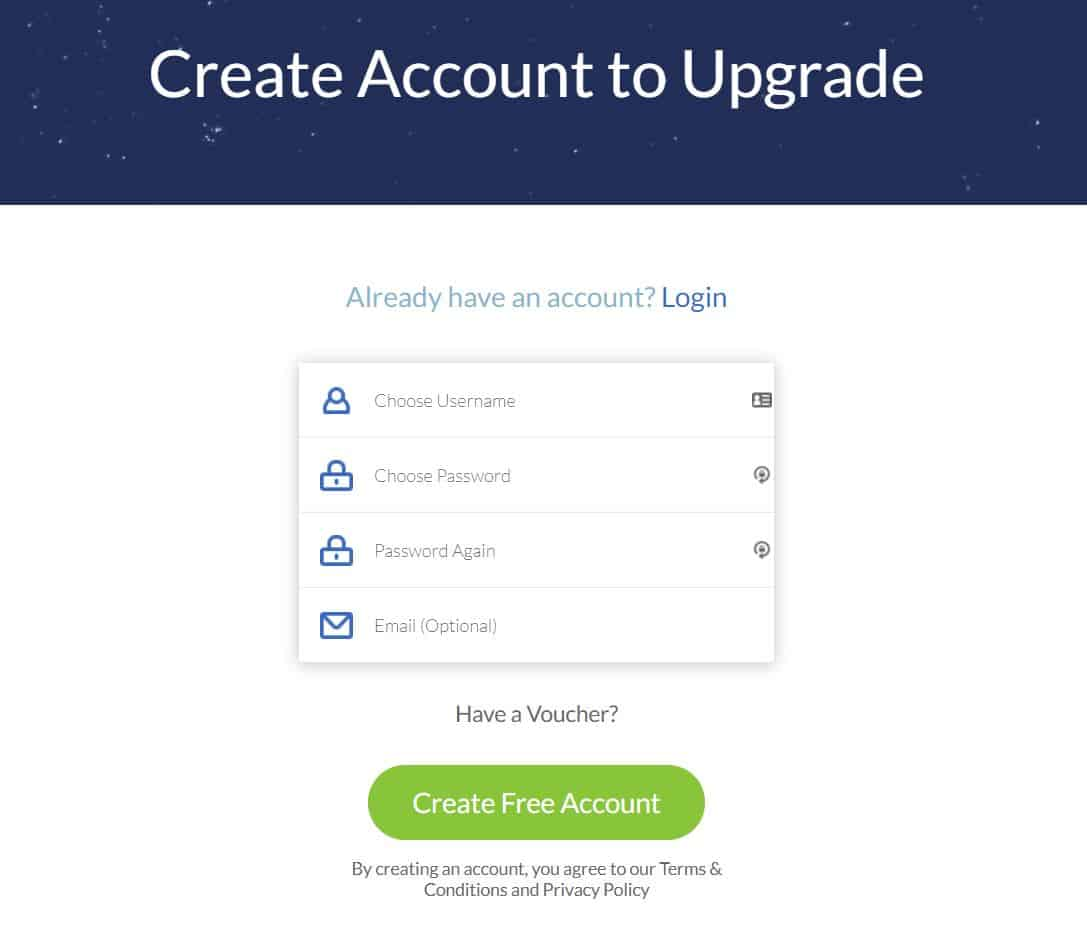 Creating account with WindScribe