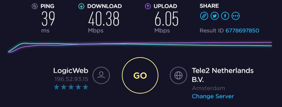 proXPN download and upload speed