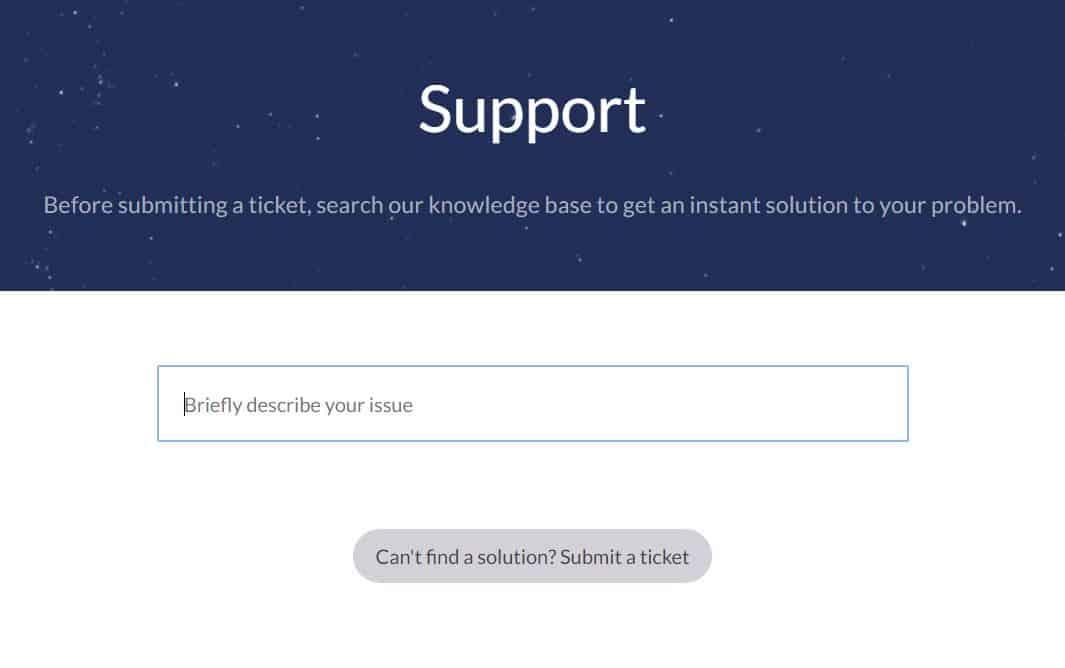 WindScribe Support Screen