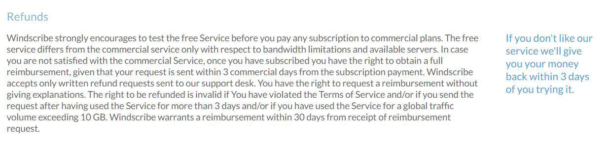 WindScribe Refund Policy is only 3 days