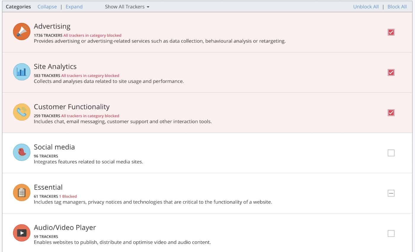 Ghostery settings