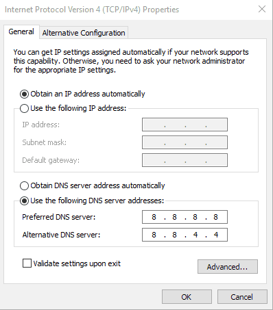 googleDNS - Connection Request Vpn Can T Press Ok