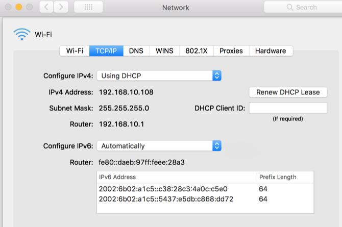 Configuring IPv4 on Mac