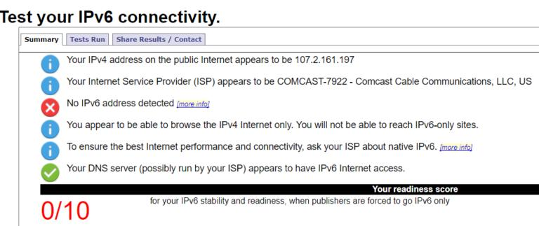 testing IPv6 connectivity