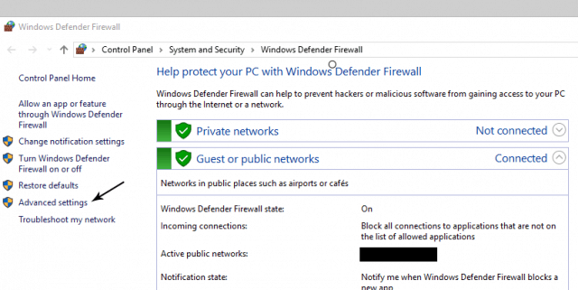 "Windows ""Advanced Settings"""