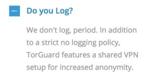 TorGuard logging policy