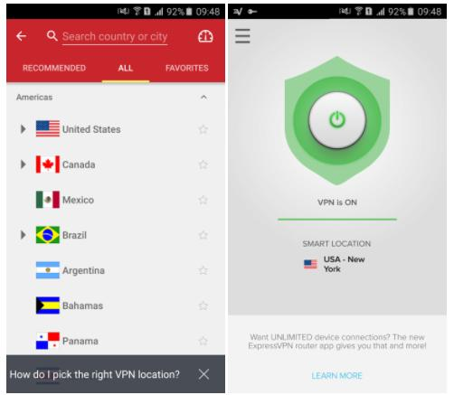 ExpressVPN's Android app