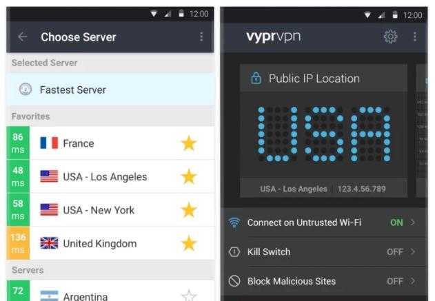 VyprVPN's Android app