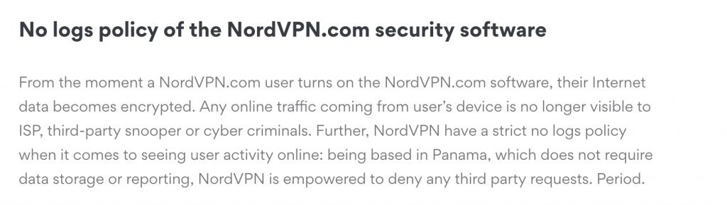 NordVPN logging policy