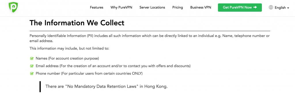 purevpn logging policy