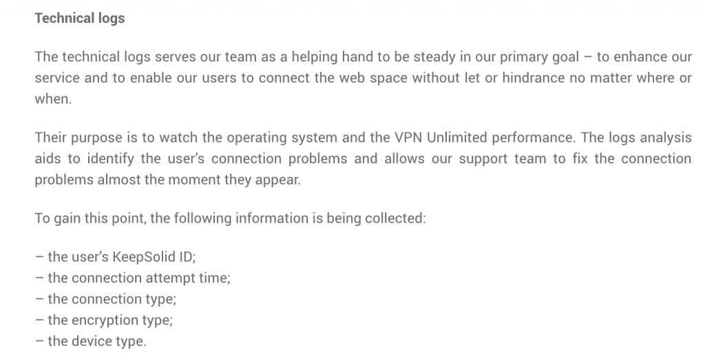 vpn unlimited logging policy