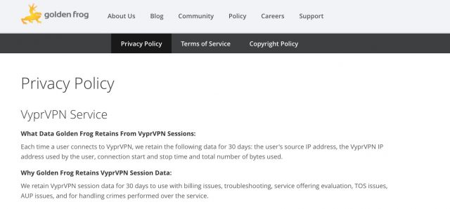 VyperVPN privacy policy