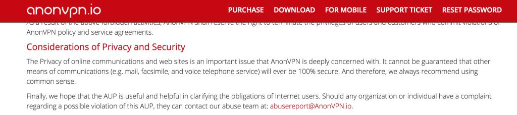AnonVPN logging policy