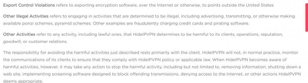 HideIPVPN logging policy