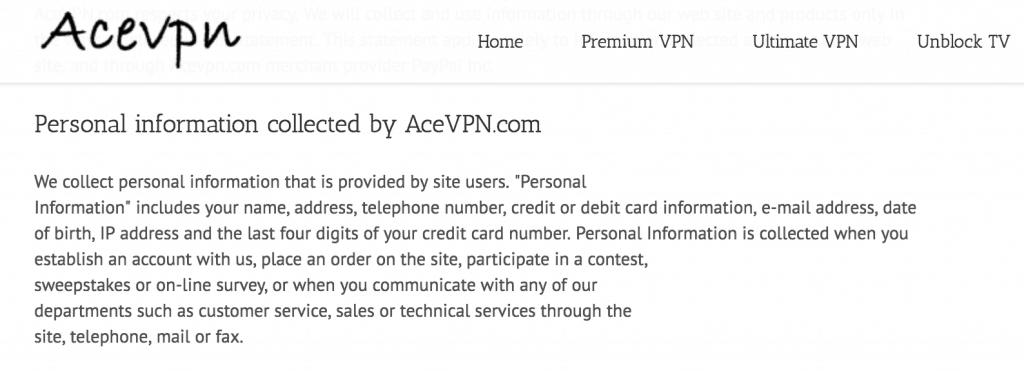 Ace VPN logging