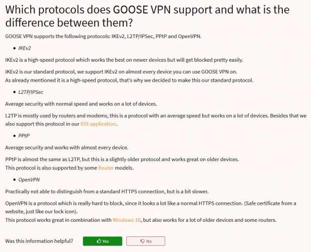 Goose VPN Tunneling Protocols
