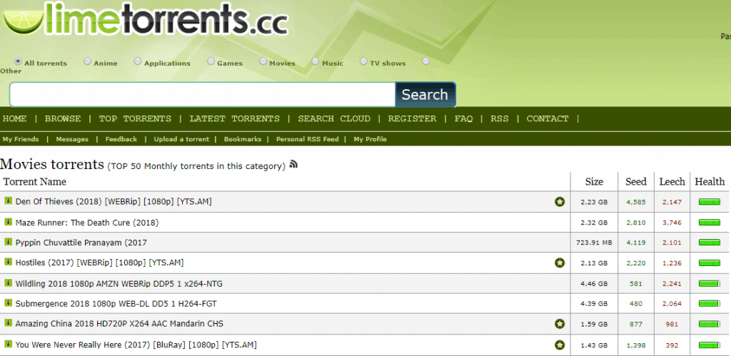 Limetorrents torrent site