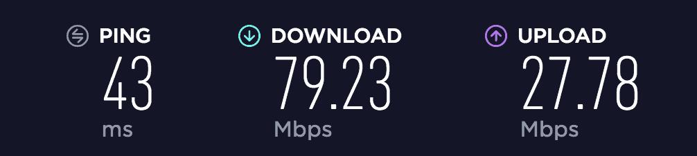 SaferVPN download and upload speed