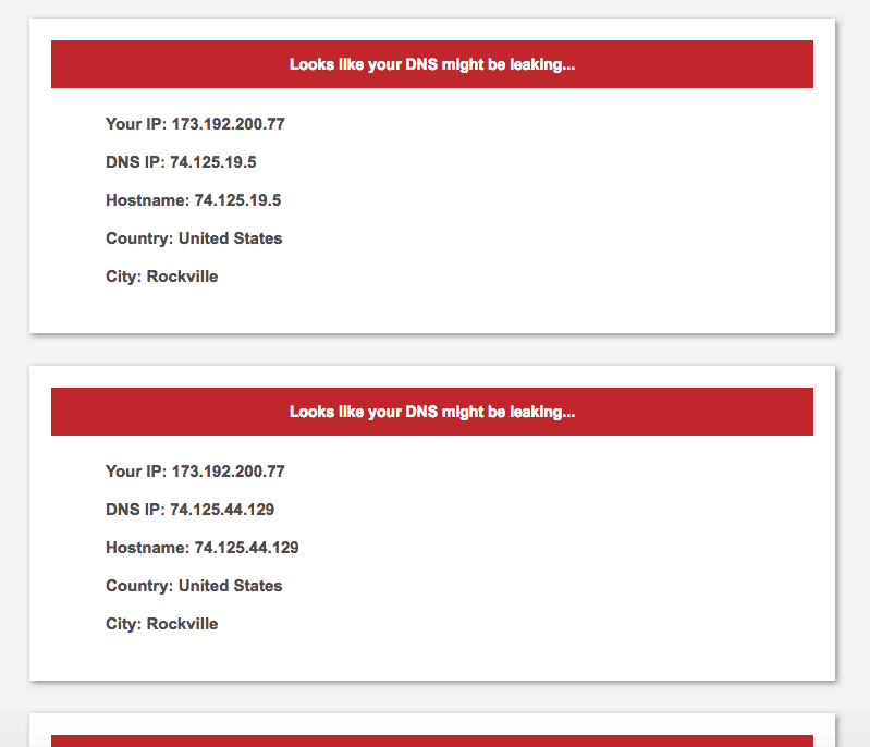 Speedify VPN DNS leak test