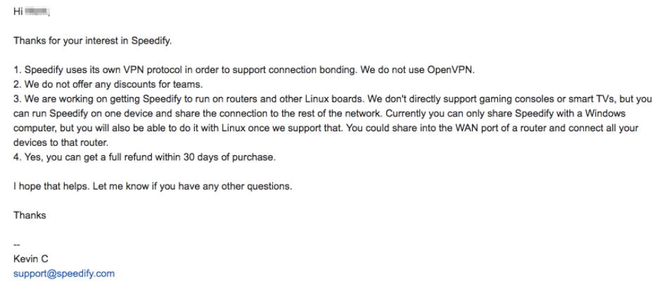 Speedify VPN replies except Tor