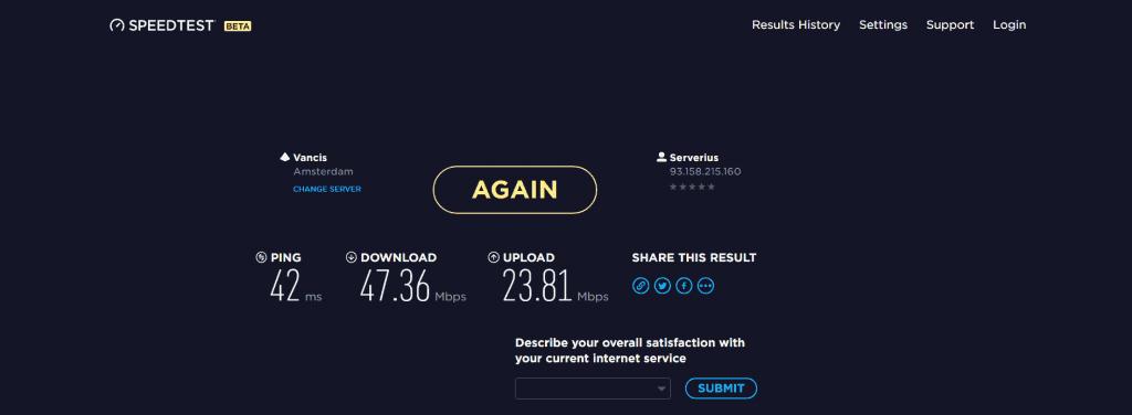 VPNArea Speed Test