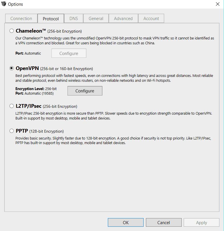 VyprVPN app settings
