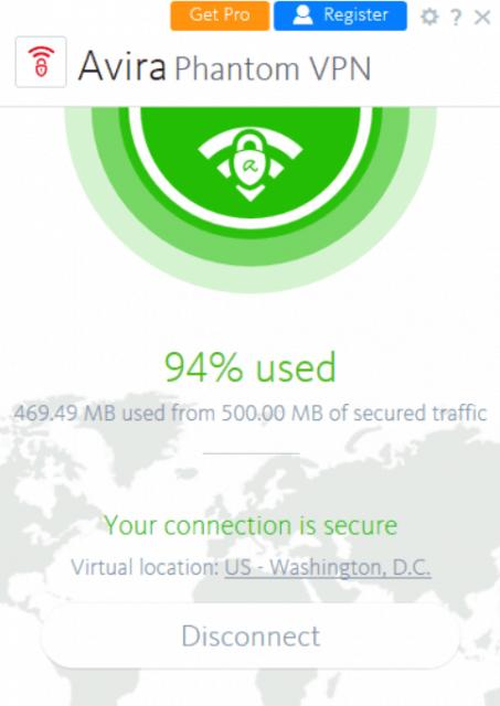 Avira Phantom VPN usability