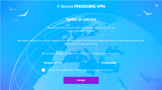 F Secure Freedome VPN collects anonymous data