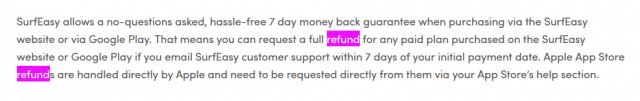 SurfEasy Money back guarantee terms