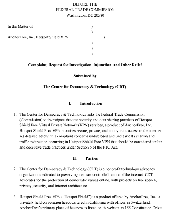 FTC complaint against Hotspot Shield