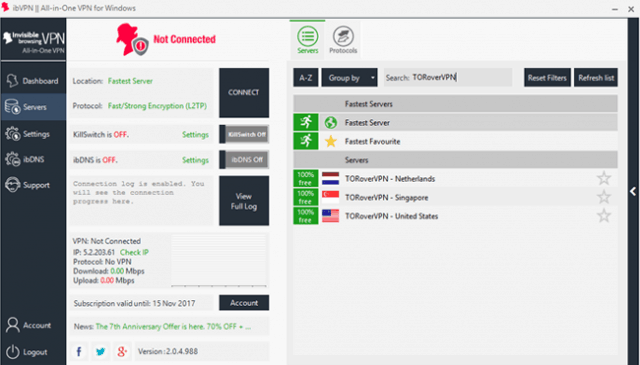 ibvpn user interface picture