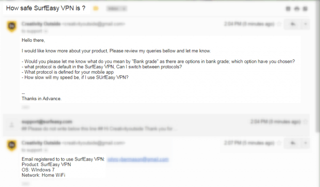 SurfEasy Customer support email