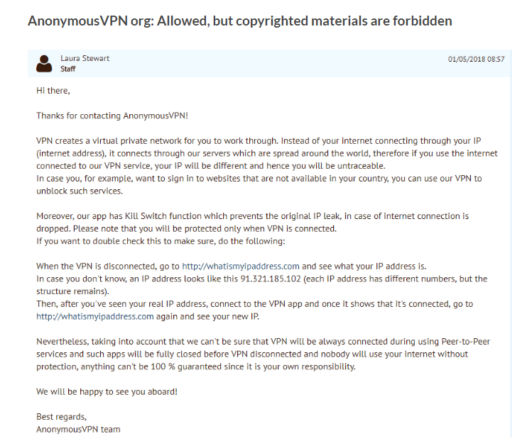 Anonymous VPN Customer Support