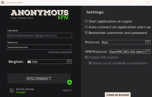 VPN app interface and settings