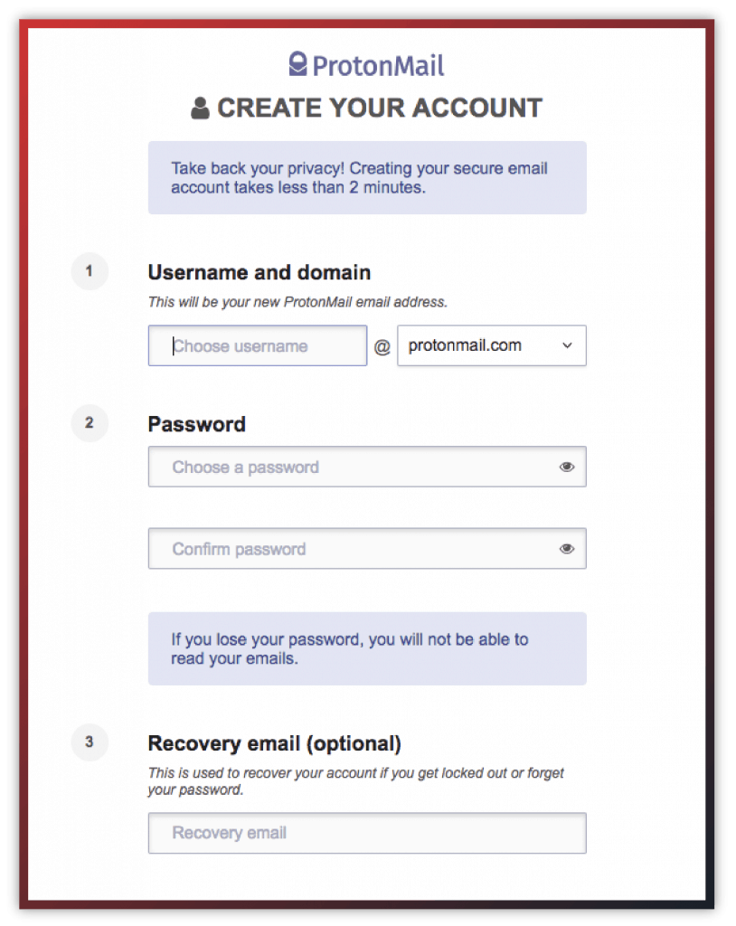 protonmail signup screen