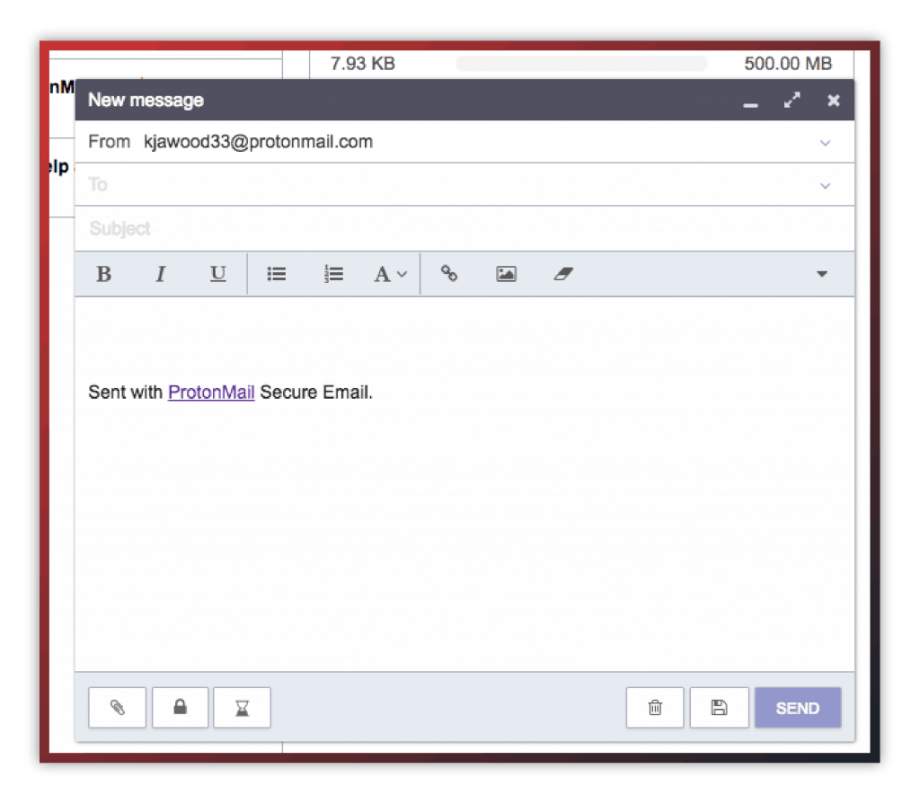 protonmail new email screen