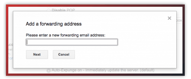 Gmail forwarding address