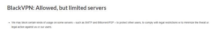 BlackVPN limited torrenting