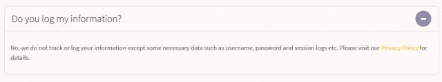 FastestVPN logging info