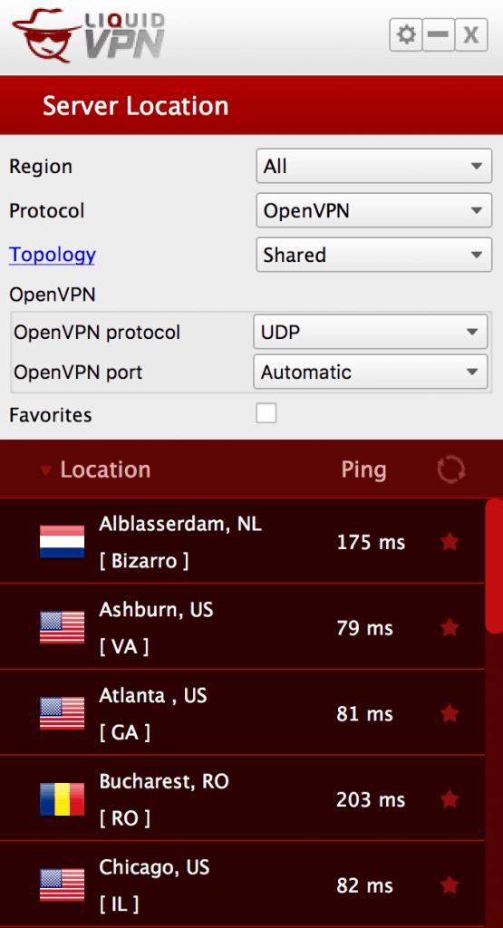 LiquidVPN server connections