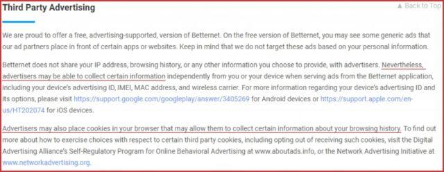 Betternet adds advertisers cookies