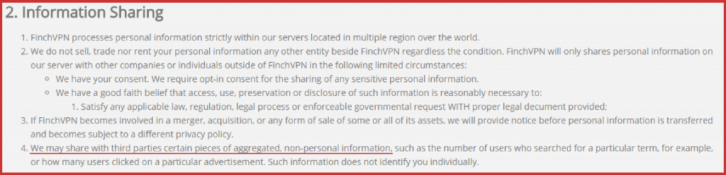 FinchVPN data sharing policy