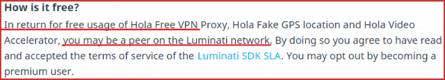 Hola VPN uses you as a peer