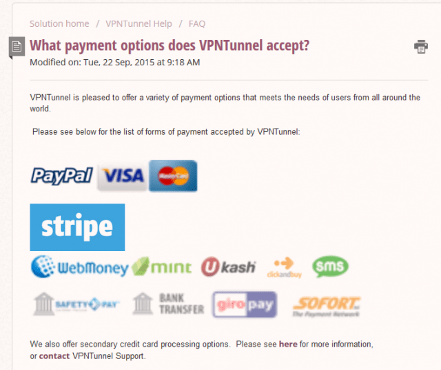 VPNTunnel payment options