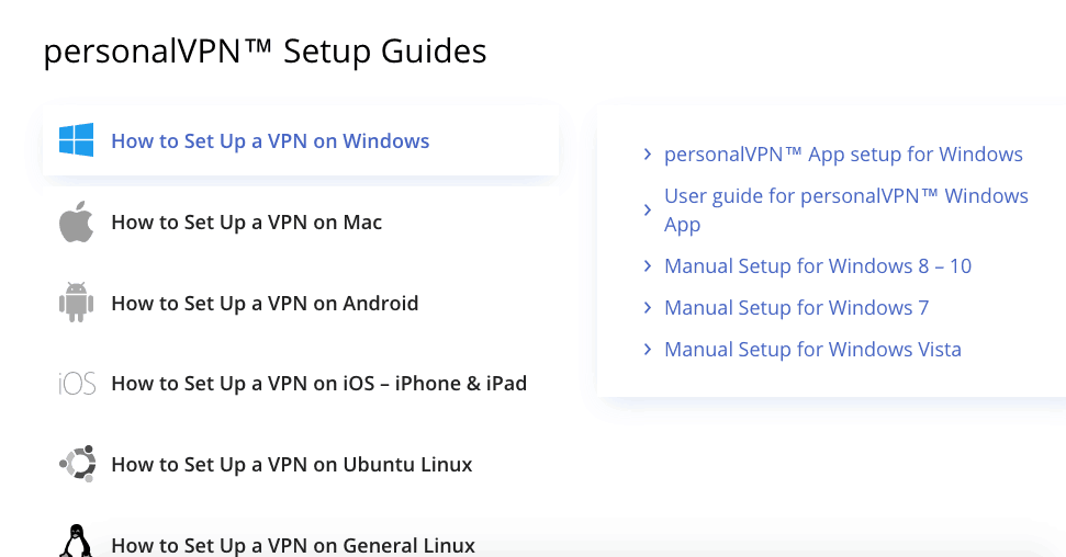 PersonalVPN Device supported