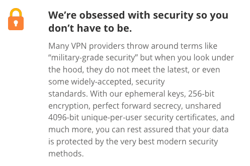 PersonalVPN Encryption info