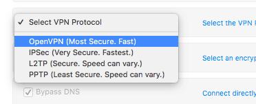 PersonalVPN select vpn protocol