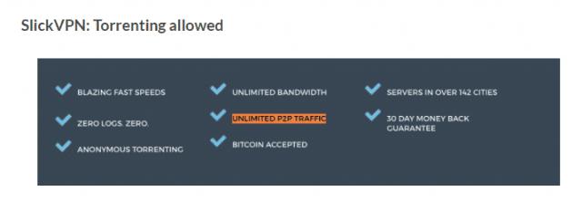 SlickVPN torrenting allowed
