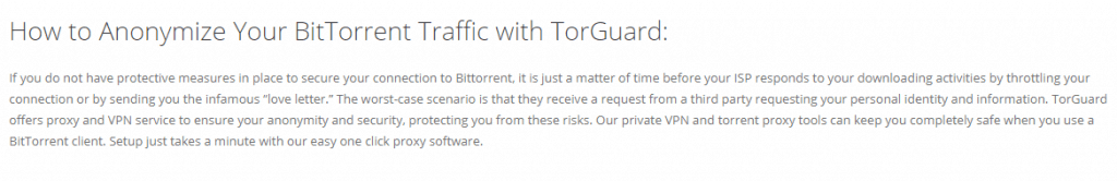 TorGuard torrenting policy