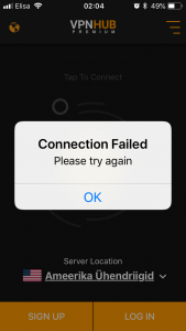 vpnhub connection failure ios app